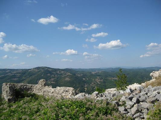 View from the ruins of the fortification at the top Novobrdo (Novobërdë) - Central Kosovo.